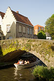 vertical stock photography | Belgium, Bruges, Tourist sightseeing boat on canal passing under bridge, image id 8-740-727