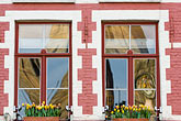 flowerboxes stock photography | Belgium, Bruges, Window with flowerboxes and reflection of Belfry Tower, image id 8-740-804