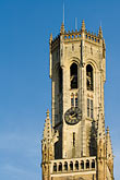 blue stock photography | Belgium, Bruges, Belfry tower , image id 8-740-815