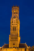 night scene stock photography | Belgium, Bruges, Belfry tower, night scene, image id 8-740-853