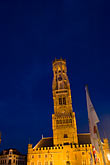 vertical stock photography | Belgium, Bruges, Belfry Tower at night, image id 8-740-860