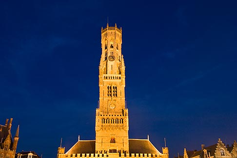 image 8-740-865 Belgium, Bruges, Belfry Tower at night