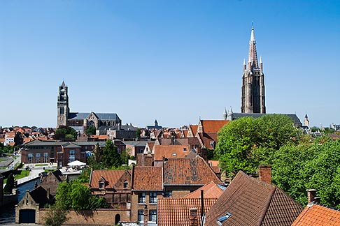 image 8-741-2058 Belgium, Bruges, View over town rooftops towards the Church of Our Lady, Onze Lieve Vrouwekerk