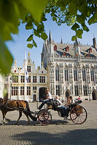 image 8-741-2091 Belgium, Bruges, City Hall on the Burg, Town Hall Square, with Horse drawn Carriage