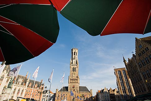 image 8-741-2130 Belgium, Bruges, Market Square, Brugge Markt, with Belfry Tower