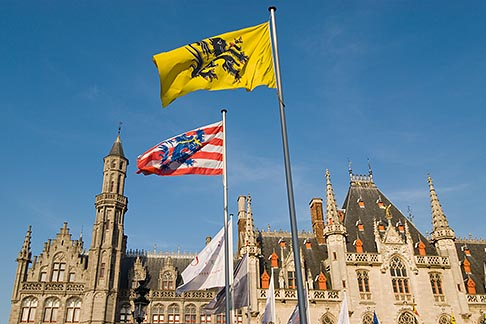 image 8-741-2132 Belgium, Bruges, Provincial Palace with flags of Flanders and Bruges