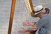 man stock photography | Belgium, Bruges, Man playing harp, seated, image id 8-741-2226