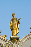 statue stock photography | Belgium, Bruges, City Hall, architectural detail, gilded statue, image id 8-741-2251