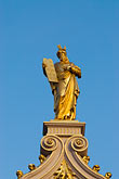 statue stock photography | Belgium, Bruges, City Hall, architectural detail, gilded statue, image id 8-741-2254
