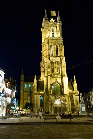 image 8-742-1573 Belgium, Ghent, St Bavos Cathedral at night