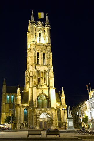 image 8-742-1574 Belgium, Ghent, St Bavos Cathedral at night, Sint Baafskathedraal