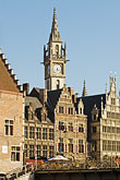 sunlight stock photography | Belgium, Ghent, Gabled Gothic houses and Belfry of Ghent, image id 8-742-1905
