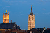 st bavos cathedral and belfry at dusk stock photography | Belgium, Ghent, St. Bavo