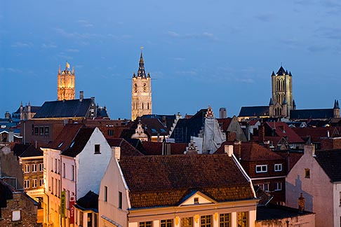 image 8-742-2059 Belgium, Ghent, St Bavos Cathedral and Belfry of Ghent and red tiled roofs at dusk, Sint Baafskathedraal
