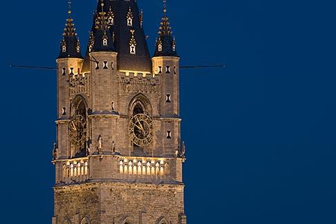 image 8-742-2074 Belgium, Ghent, Belfry at night