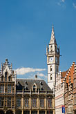 belfry tower and gothic buildings stock photography | Belgium, Ghent, Belfry of Ghent tower and Gothic buildings, image id 8-743-2373