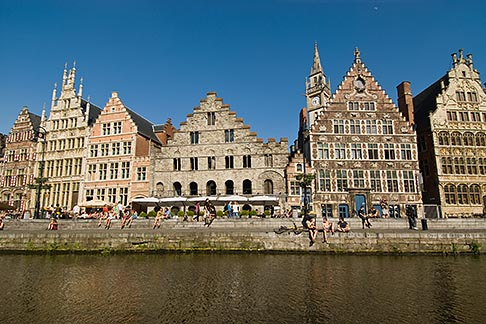 image 8-743-2405 Belgium, Ghent, Graslei canal guild houses and waterfront