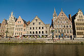 ghent canal houses stock photography | Belgium, Ghent, Graslei canal guild houses and waterfront, image id 8-743-2405