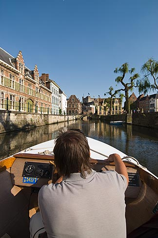 image 8-743-2450 Belgium, Ghent, Sightseeing boat on canal