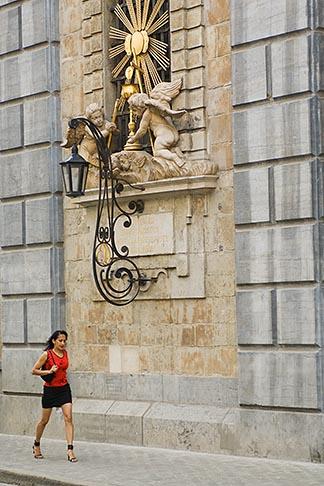 image 8-744-2156 Belgium, Antwerp, Woman walking past Carolus Borromeus Church