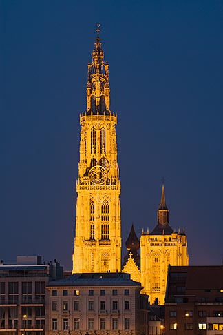 image 8-744-2292 Belgium, Antwerp, Cathedral of Our Lady, Onze Lieve Vrouwekathedraal, at night