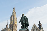 landmark stock photography | Belgium, Antwerp, Cathedral of Our Lady, Onze Lieve Vrouwekathedraal, and Statue of Peter Paul Rubens, image id 8-745-2792