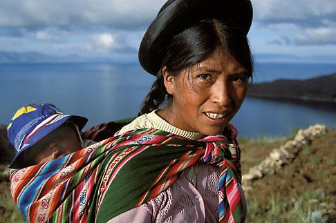 image 3-104-12 Bolivia, Lake Titicaca, Aymara woman and child, Yumani, Isla del Sol