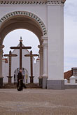 three men stock photography | Bolivia, Lake Titicaca, Courtyard of Cathedral, Copacabana, image id 3-112-32