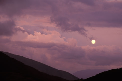 image 3-135-16 Bolivia, Yungas, Moonrise over rainforest near Coroico