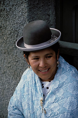 image 3-88-17 Bolivia, La Paz, Aymara woman at Plaza Sucre