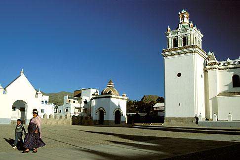 image 3-92-25 Bolivia, Lake Titicaca, Courtyard of Cathedral, Copacabana