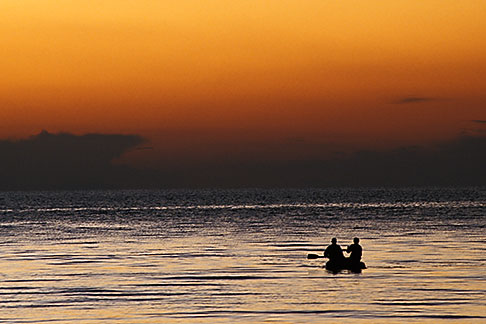 image 3-93-23 Bolivia, Lake Titicaca, Boaters on the lake at sunset, Copacabana