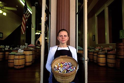 image 1-652-37 California, Sacramento, Old Sacramento, Woman at candy shop