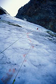 usa stock photography | California, Sierra Nevada, Dana Couloir, during ice-climbing rescue , image id 2-148-8
