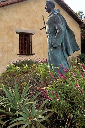 image 3-315-5 California, Carmel, Statue of Junipero Serra outside Carmel Mission