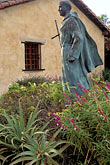 roman catholic church stock photography | California, Carmel, Statue of Junipero Serra outside Carmel Mission, image id 3-315-5