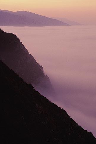 image 3-316-28 California, Big Sur, Dawn light and fog south of Ventana