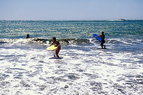 image 4-701-6 California, Marin County, Muir Beach, GGNRA, Young girls with boogie boards