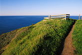 walking trail stock photography | California, Marin County, Muir Beach, GGNRA, Hillside and fence, image id 4-701-70