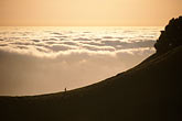 cloudy stock photography | California, Marin County, Mount Tamalpais State Park, Hiker on ridge, image id 4-701-99