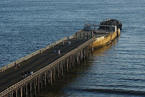 image 4-775-156 California, Santa Cruz County, Aptos, Pier and cement ship