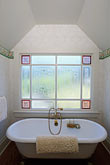 bed stock photography | California, Mendocino County, Manchester, Inn at Victorian Gardens, bathroom, image id 4-797-41