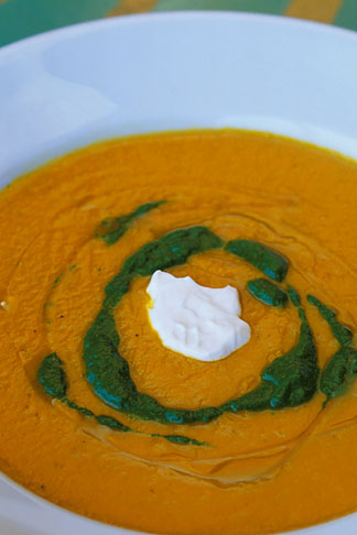 image 4-797-88 Food, Carrot ginger rosemary soup with sour cream and spinach coulis