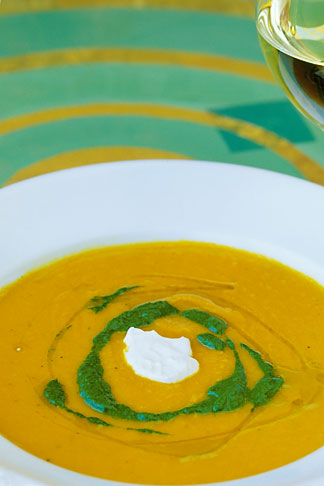 image 4-797-91 Food, Carrot ginger rosemary soup with sour cream and spinach coulis
