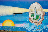wall painting stock photography | California, Point Arena, Mural of lighthouse, image id 4-800-1