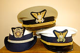 white cap stock photography | California, Point Arena, Coast Guard House, Naval caps, image id 4-800-14