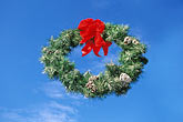 blue sky stock photography | California, Christmas wreath, image id 4-974-1