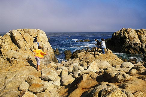 image 4-985-25 California, Pacific Grove, Kids on rocks