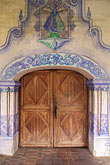 worship stock photography | California, Missions, Doorway & frescoes, Mission San Miguel Arcangel, image id 5-117-13