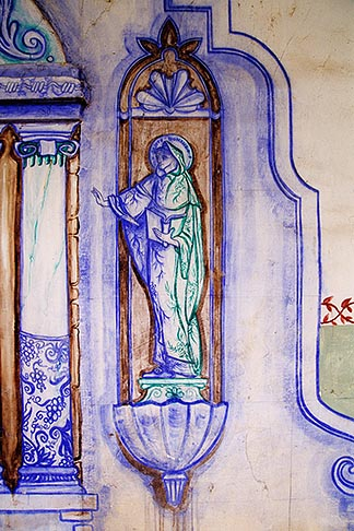 image 5-119-33 California, Missions, Detail of fresco, Mission San Miguel Arcangel
